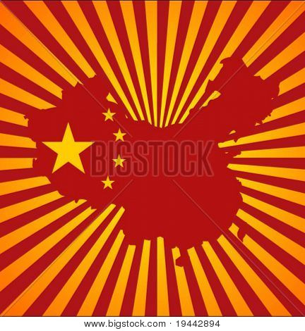 China Map and Flag on Sunset background