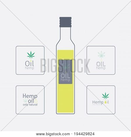 Bottle with hemp oil. Logos hemp oil. Vector sign for web graphic
