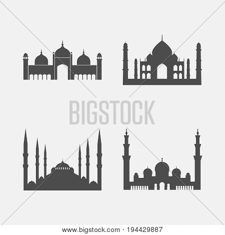Mosque icon set. Vector sign for web graphic