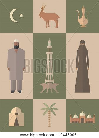 Pakistan. Flat icons travel set. Vector sign for web graphic