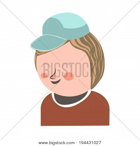 Cheerful laughing boy with closed eyes and blush on face wearing azure cap and brown sweater isolated on white vector colorful poster in graphic design. Young male person in good mood template