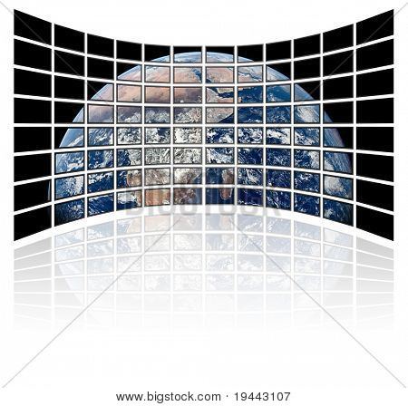 earth globe on tv screens (white background)