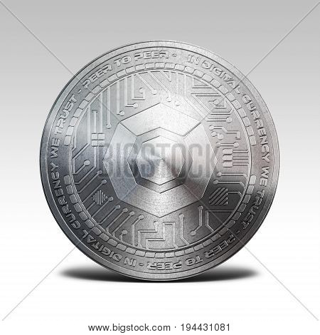 silver komodo coin isolated on white background 3d rendering illustration