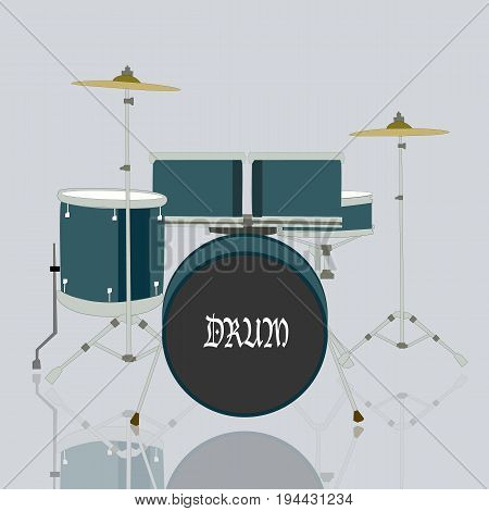 Drum set kits and reflection on ground with grey background