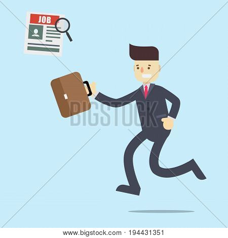 Businessman jump to find a job in newspaper with magnifier and holding brown bag illustration flat designbusinessman runwalk and happy to find job