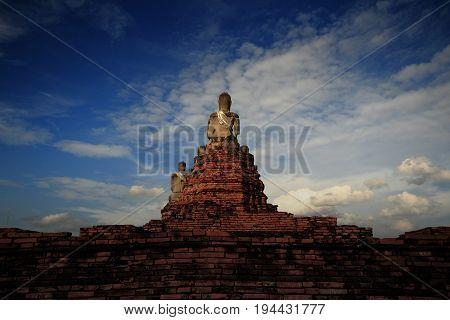 Ancient Buddha image at Wat Chaimongkol Temple, Ruins in Ayutthaya, Thailand Buddha image of Wat Chaimongkol Temple Ayutthaya, Thailand.