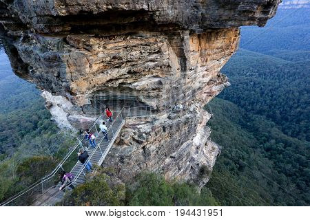 BLUE MOUNTAINS, AUSTRALIA - 1 MAY 2017: Tourists at The Three Sisters, Blue Mountains, NSW Australia