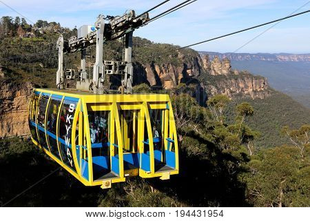KATOOMBA, AUSTRALIA - MAY 1, 2017:Skyway at Scenicworld in the Blue Mountains, Australia. s region