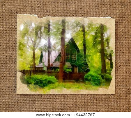 A cozy wooden house hid in thickets among tall slender pines and bushes on the old paper background in the passepartout poster