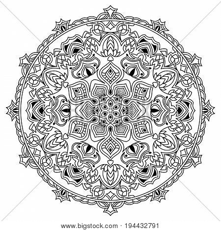 Intricate mandala. Coloring book or tatoo. Monochrome vector illustration.