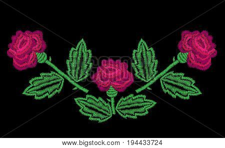 Embroidery stitches imitation neck line pattern with big roses. Fashion embroidery rose on black background. Embroidery flower vector.