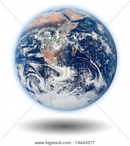 Earth Model with white background and shadow