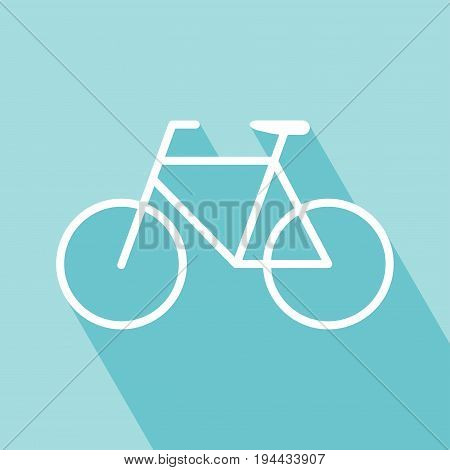 Bicycle icon on blue background. Bicycle icon n with long shadow. bicycle flat icon. All in a single layer. Vector illustration.