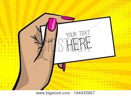Pop art comic text cartoon girl woman hand show empty speech bubble, business card. Human wow poster halftone dot background. Gesture advertisement arm illustration.