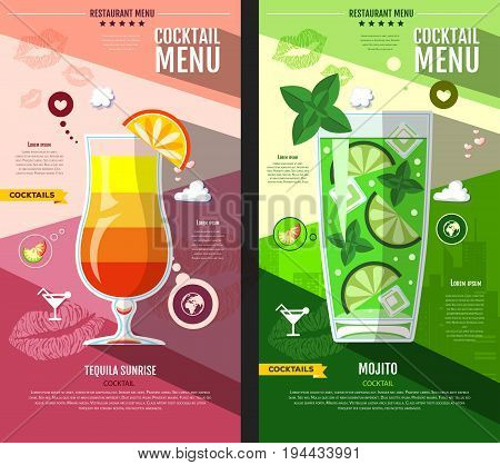 Flat style cocktail menu design. Tequila sunrise and mojito