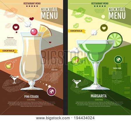 Flat style cocktail menu design. Pina colada and margarita