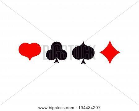 playing card poker symbols set  ace vector set spade diamonds hearts
