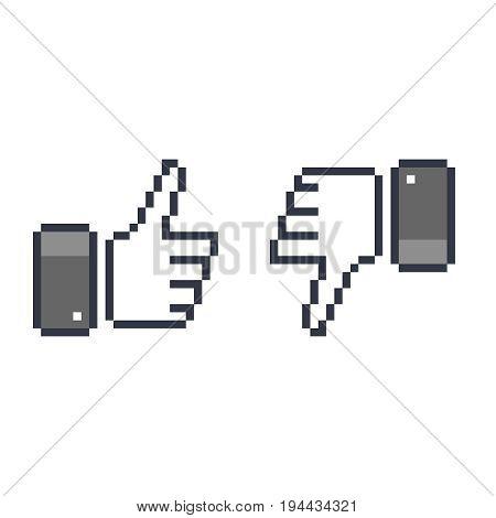 pixel  thumb up 8 bit icon   like pixel symbol  mosaic finger  rate  like and dislike