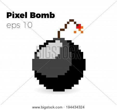 pixel bomb game vector illustration  8 bit bomb