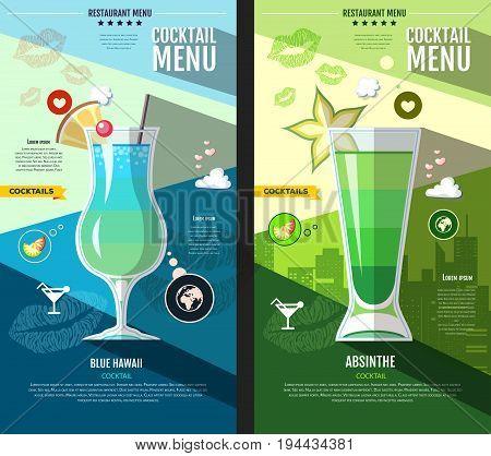 Flat style cocktail menu design. Blue hawaii and absinthe