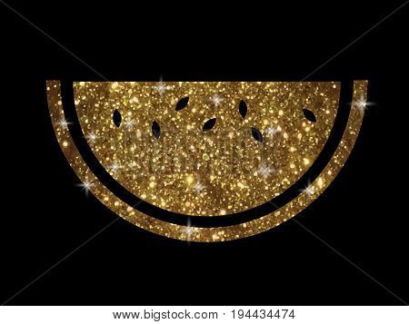 The vector golden glitter and shinny fruit watermelon icon on black background