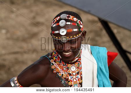 Headdress of a Samburu warrior in Kenya