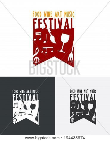 Festival Logo showcasing talent and produce such as wine food fun music and artwork
