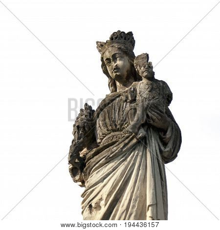 broken and beautiful statue of the Virgin Mary with the baby Jesus Christ (Religion faith eternal life God the soul concept)