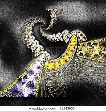 3D rendering of plastic background with embossed perspective spiral fractal on leather