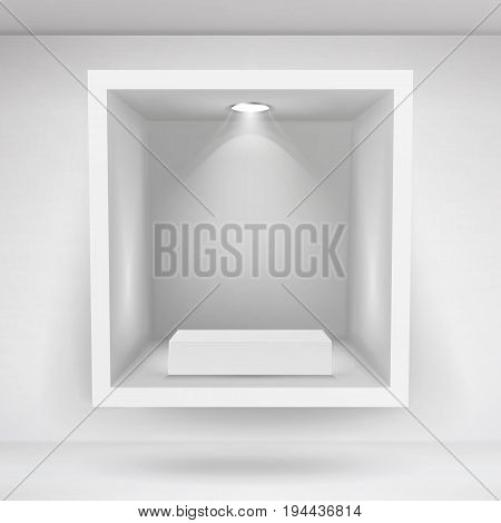 Empty Niche Vector. Clean Empty Shelf, Niche, Showcase In The Wall. Mock Up. Good For Presentations, Display Your Product. Illuminated Light Lamp