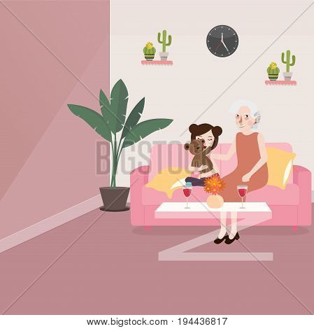 grandma with her grand daughter sitting in sofa talking while playing teddy bear in living room telling story vector
