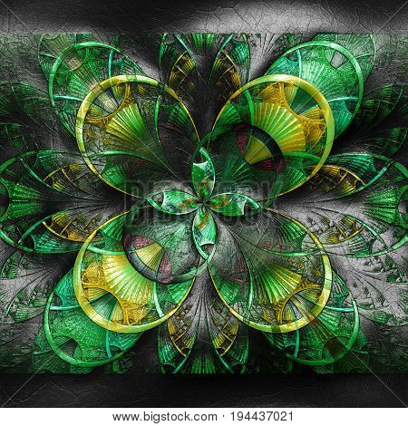3D rendering of plastic background with embossed green star fractal on leather