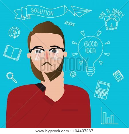 man thinker wearing glasses inspiration ideas creativity style innovation vector