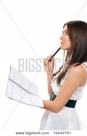 Woman With Notebook Organizer Getting Ready Final Exam