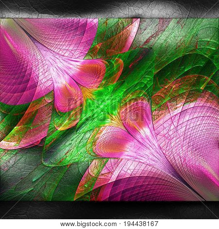 3D rendering of plastic background with embossed opposite flower fractal on leather