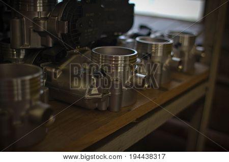 Engine junkyard on the shelf in manufactory