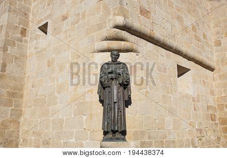 San Pedro de Alcantara statue at Caceres St. Marys cathedral. Spain