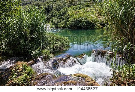 Waterfall Croatia Krka National park lake landscape