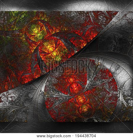 3D rendering of plastic background with embossed flower web fractal on leather