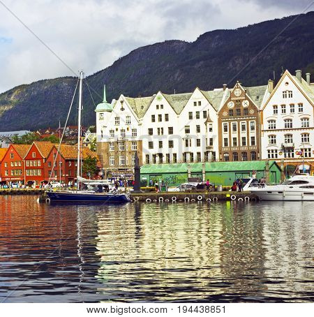 Bergen, Norway - july 7, 2017: Embankment Bryggen in the historical center of Bergen, Norway.