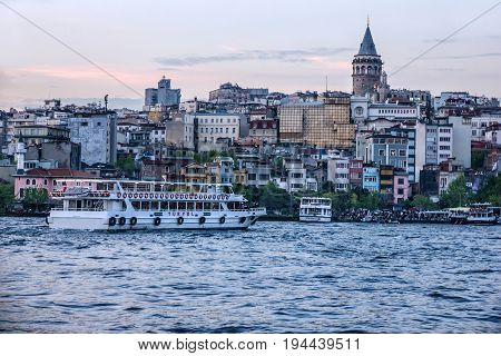 Istanbul, Turkey - May 9, 2017: Galata tower in Istanbul seafront, Turkey