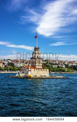 The Maiden's Tower architecture in Istanbul, Turkey