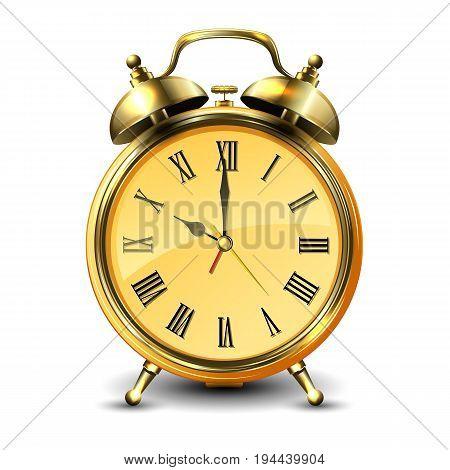 Golden retro style alarm clock isolated on white background. Vector illustration.