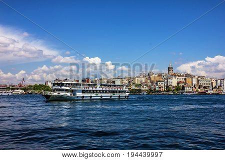 Galata tower sea view - landmark in Istanbul, Turkey.