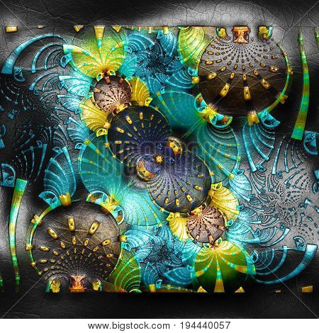 3D rendering of plastic background with embossed beams and molecules fractal on leather