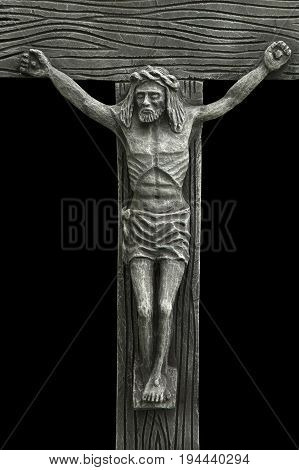 the crucifixion of Jesus Christ as a symbol of God's love (antique statue)