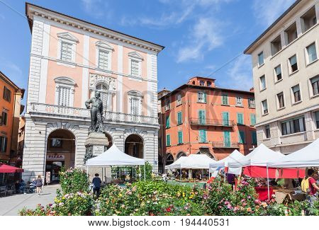 Pisa, Italy - April 07, 2017: Sale of flowers in a square in Pisa