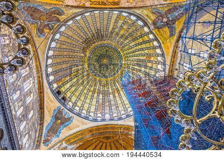 Istanbul, Turkey - July 8, 2017: Interior of Hagia Sophia in Istanbul, Turkey - greatest monument of Byzantine Culture.