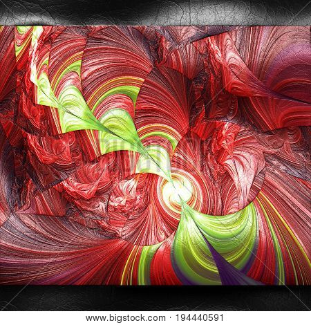 3D rendering of plastic background with embossed beam string fractal on leather