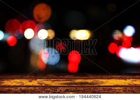 Night light background, wooden floor, Backdrop blurred, Colorful lights, Season